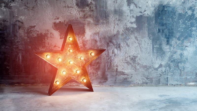 Grande estrela retro decorativa com lotes de luzes ardentes no fundo do concreto do grunge Decoração bonita, projeto moderno fotografia de stock