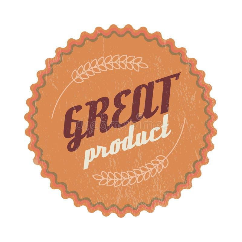 Grande etiqueta do marrom do produto, estilo do vintage ilustração do vetor