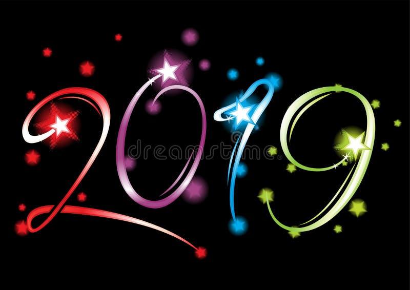 Grande evento del nuovo anno 2019 illustrazione di stock