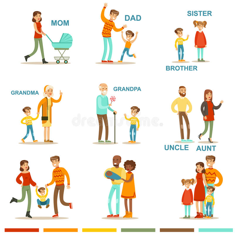 Grande família feliz com todos os parentes que recolhem incluindo ilustrações da mãe, do pai, da tia, do tio e das avós ilustração royalty free