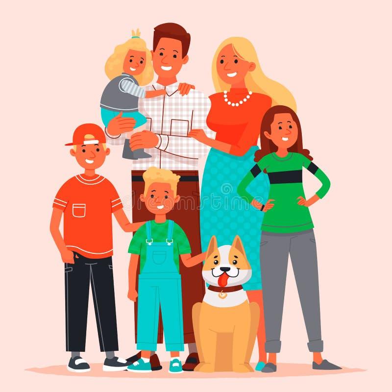Grande família feliz Mamã, paizinho, crianças e animal de estimação Ilustração do vetor ilustração do vetor