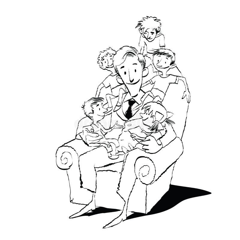 Grande família, paizinho em uma cadeira com crianças ilustração royalty free