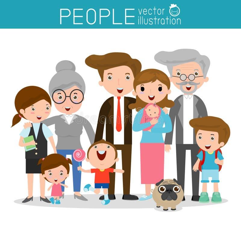 Grande famiglia, famiglia e bambini, famiglia e bambini, vita familiare, insieme della famiglia felice, famiglia, madre, padre, r royalty illustrazione gratis