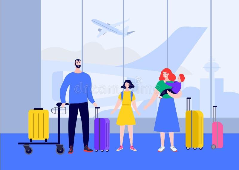 Grande famiglia felice al volo dell'aeroporto su un viaggio sulla vacanza Viaggio della famiglia festa Famiglia del personaggio d illustrazione vettoriale
