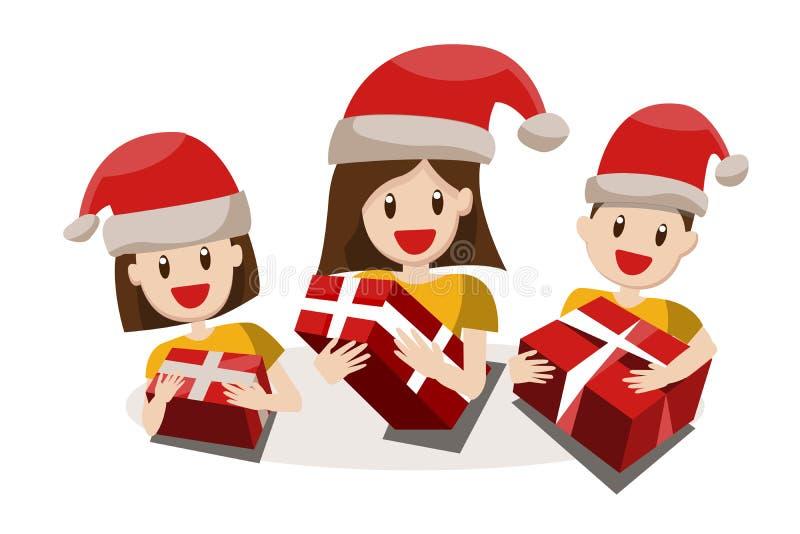 Grande famiglia felice in cappelli di Natale Nonni, genitori e ch fotografie stock libere da diritti