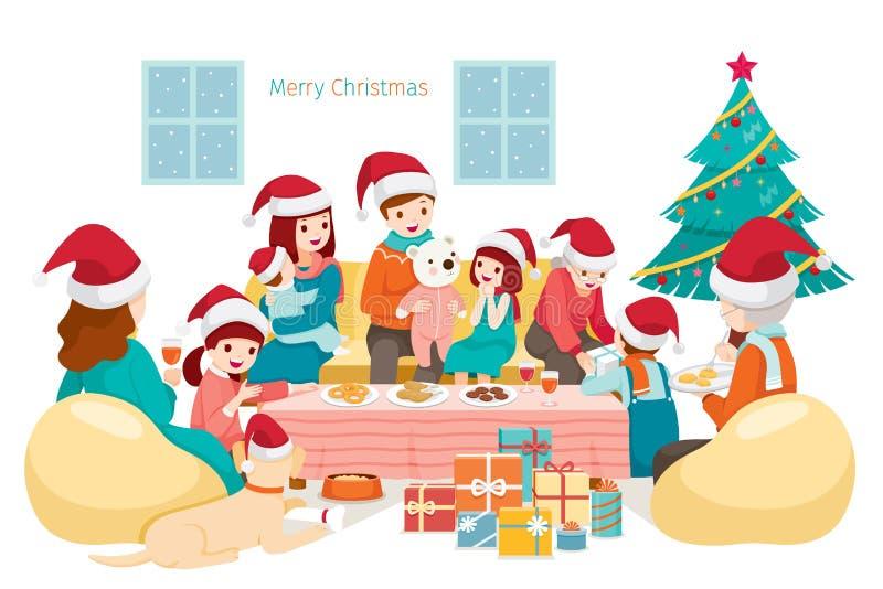 Grande famiglia felice che si siede, parlante e mangiante sul partito di festa a illustrazione di stock