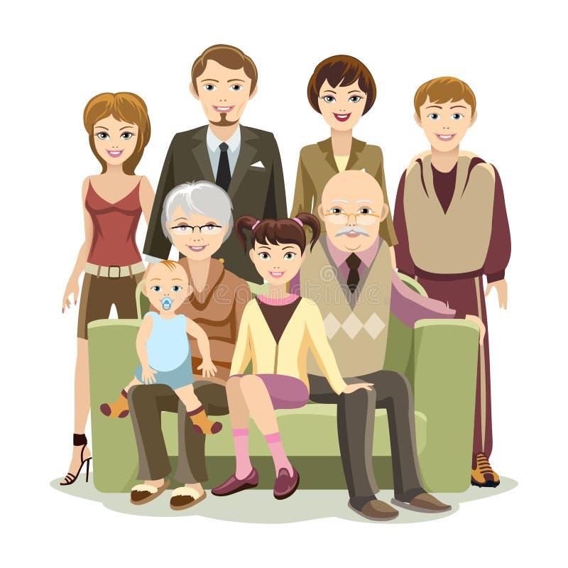 Grande famiglia felice di Cartooned al sofà illustrazione vettoriale