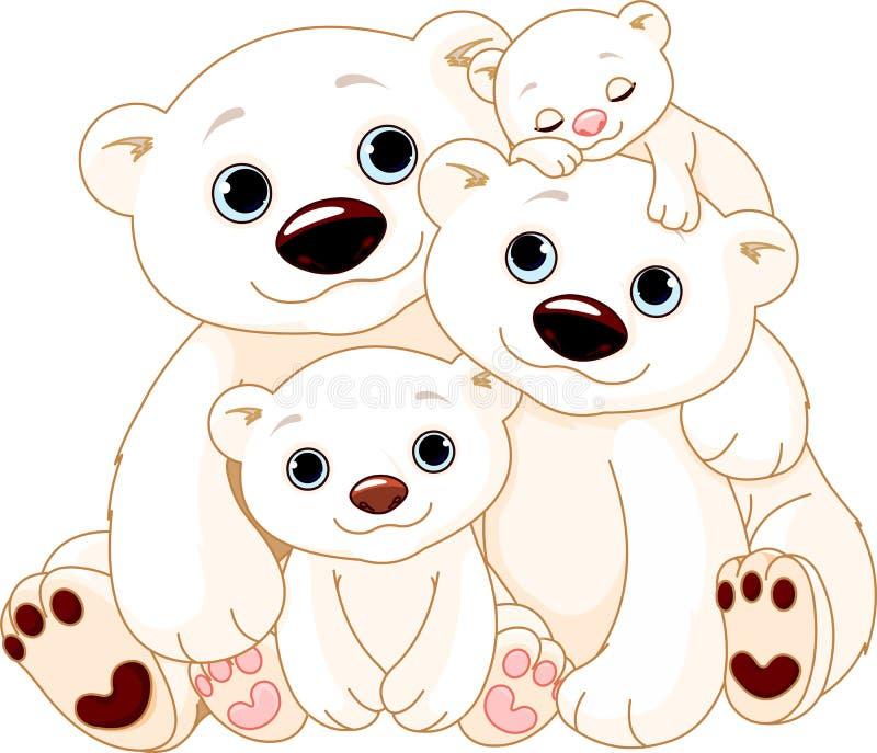 Grande famille d'ours blanc illustration stock