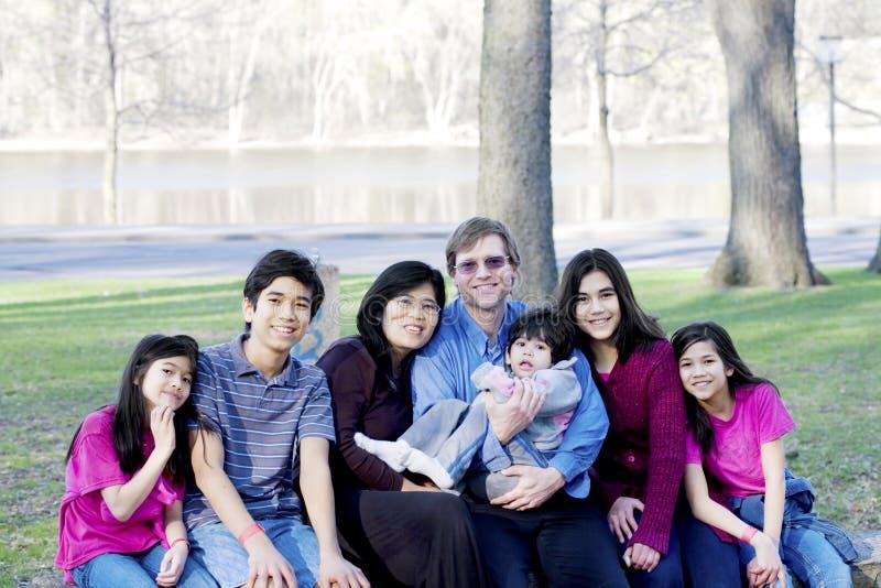 Grande famille de sept interraciale image stock