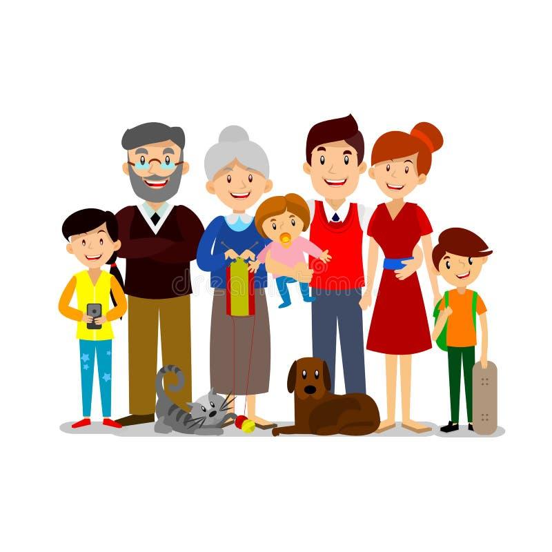 Grande famille heureuse Parents avec des enfants Père, mère, enfants, grand-papa, grand-maman, chien et chat illustration stock