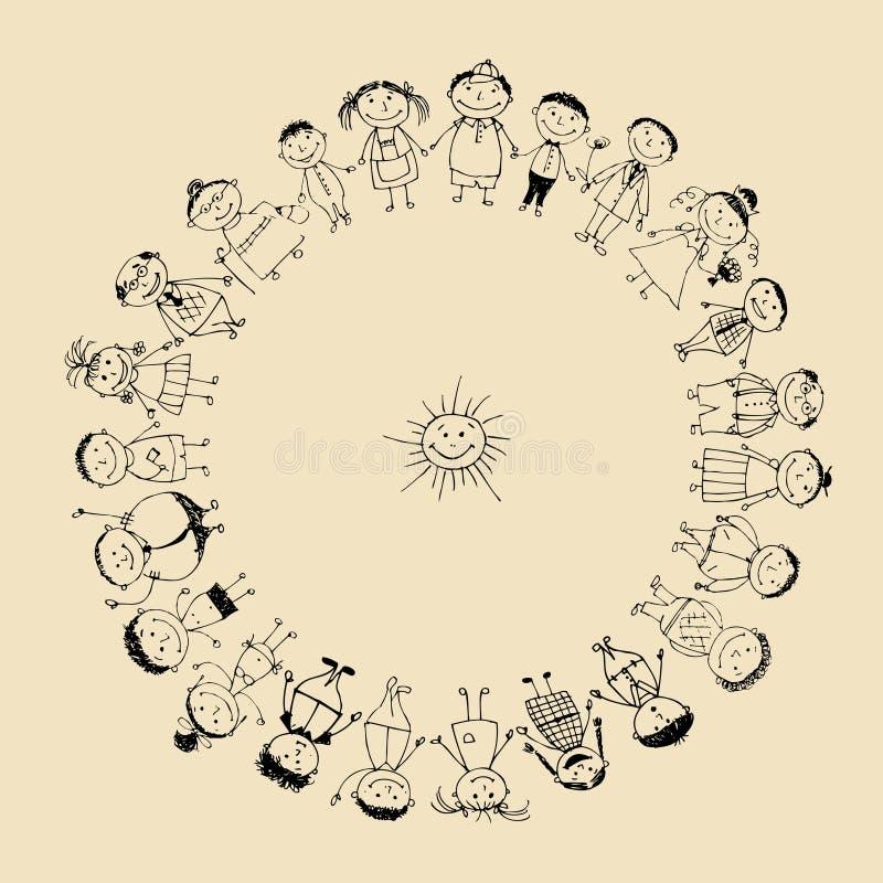 Grande famille heureuse souriant ensemble, croquis de dessin illustration stock
