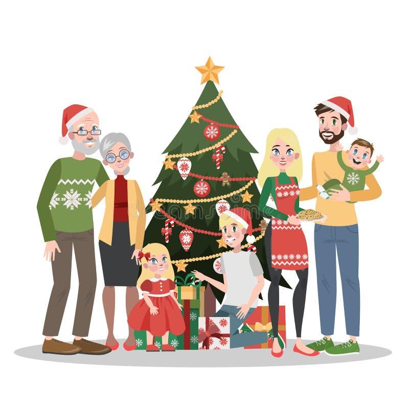 Grande famille se tenant à l'arbre de Noël illustration stock