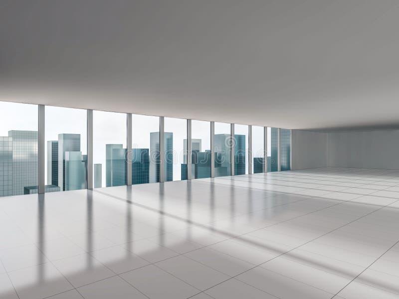 Grande fenêtre avec des vues de ville 3d illustration stock