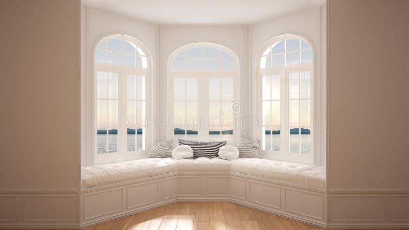 Grande fenêtre avec le panorama de mer, l'espace vide minimaliste, fond image stock