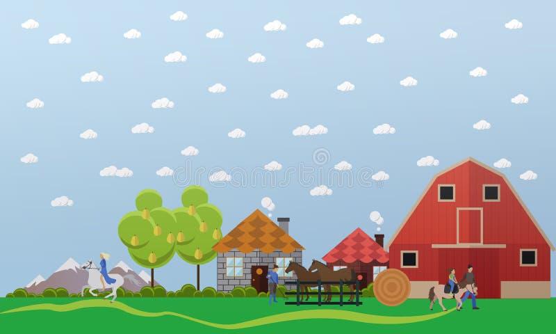 Grande ferme de cheval, bannière de vecteur dans la conception plate illustration stock