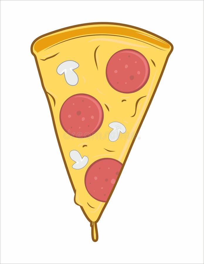 Grande fetta di pizza con formaggio illustrazione vettoriale