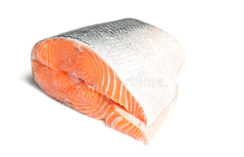 Grande fetta di salmone fresco fotografia stock libera da diritti