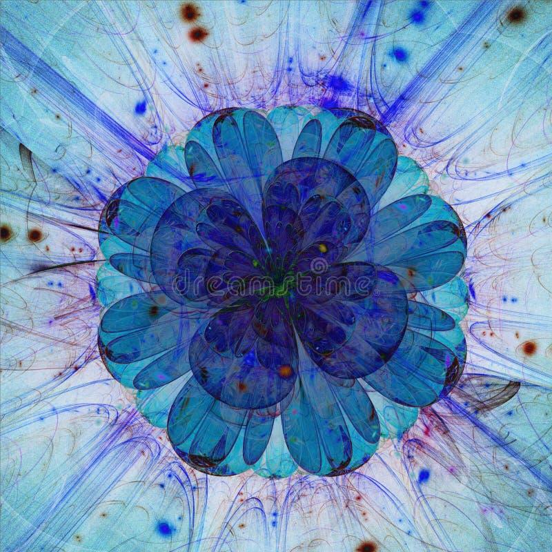 Grande fiore traslucido blu di frattale illustrazione di stock