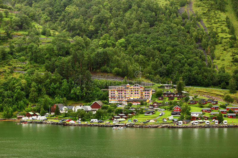 Grande Fjord Hotel In Small Coastal Village Editorial Photo