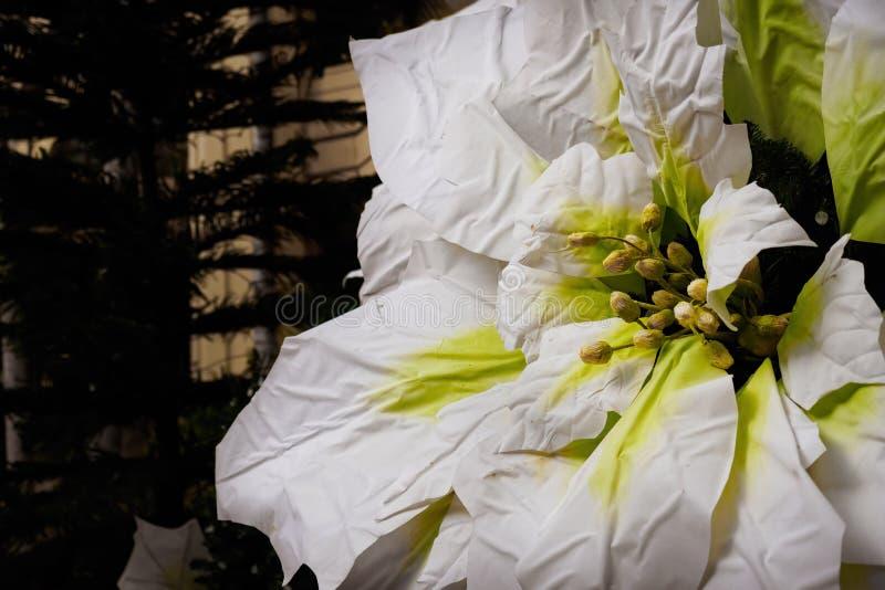 Grande fleur artificielle de poinsettia photographie stock