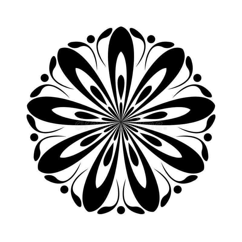 Grande fleur simple Ornement noir et blanc illustration de vecteur