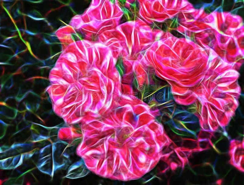 Grande flor cor-de-rosa do fractal bonito do sumário ilustração royalty free
