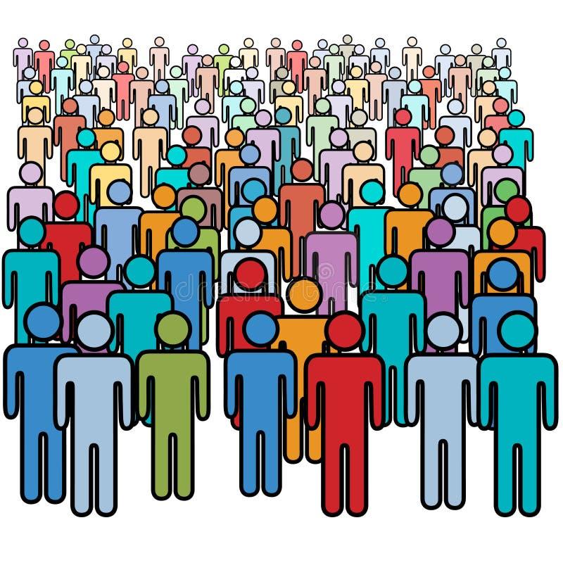 Grande folla del gruppo sociale di molta gente di colori royalty illustrazione gratis