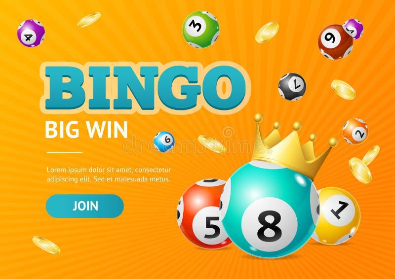 Grande fondo della carta di vittoria del lotto 3d di bingo dettagliato realistico di concetto Vettore illustrazione di stock