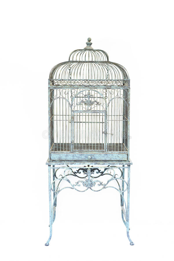 Grande fondo isolato della gabbia per uccelli stile d'annata