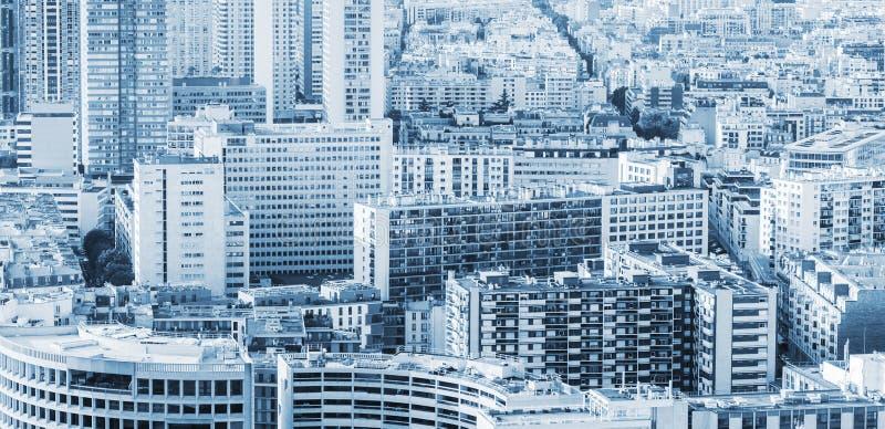Grande fondo moderno della città, blu tonificato fotografie stock