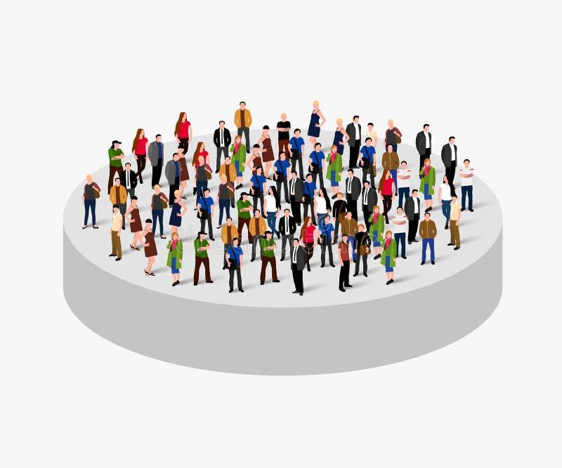 Grande foule de personnes en cercle Concept de société illustration stock
