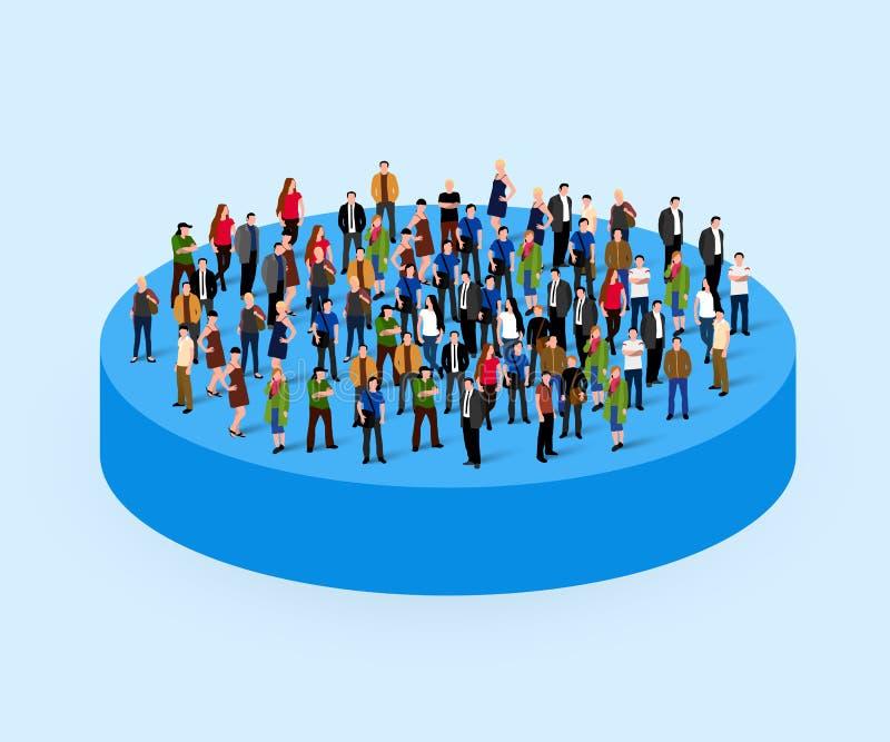 Grande foule de personnes en cercle Concept de société illustration de vecteur