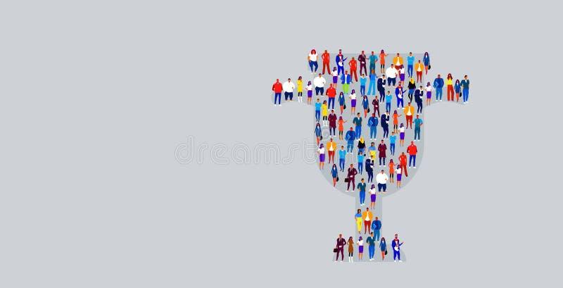 Grande foule des hommes d'affaires chez des hommes d'affaires de forme de tasse de trophée tenant ensemble le premier concept du  illustration libre de droits