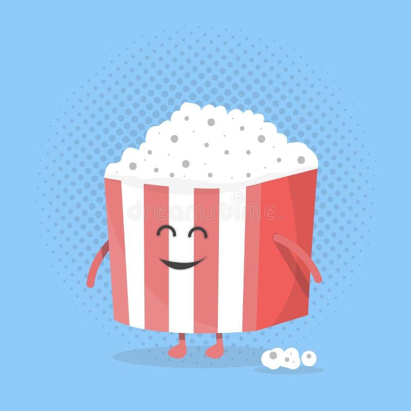 Grande fronte del contenitore di popcorn Carattere con le gambe e le mani Stile piano di progettazione Illustrazione di vettore royalty illustrazione gratis