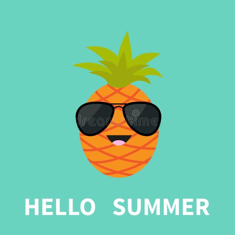 Grande frutta dell'ananas con gli occhiali da sole d'uso della foglia Carattere sorridente del fumetto sveglio Ciao cartolina d'a royalty illustrazione gratis