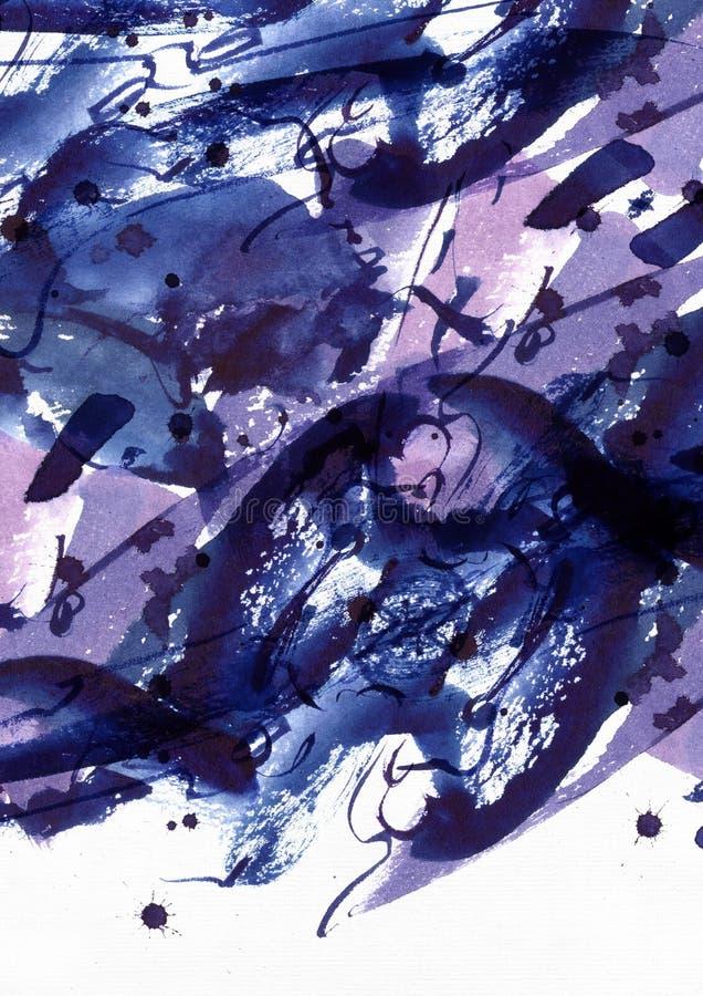 Grande fundo abstrato da aquarela Manchas vívidas da escova, pontos e pontos a mão livre azuis e roxos na textura contínua no bra ilustração royalty free