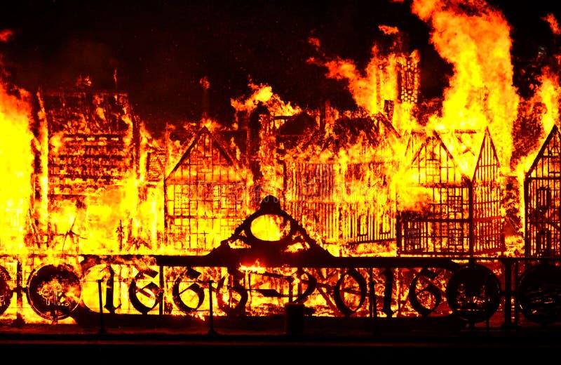 Grande fuoco di Londra fotografia stock libera da diritti