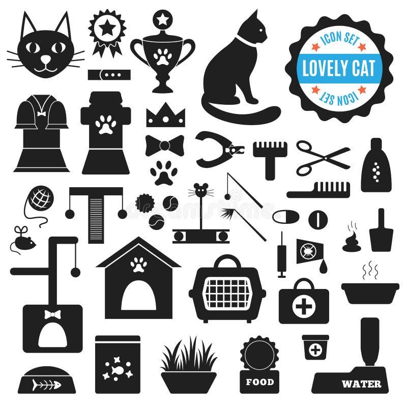 Grande grupo de ícones sobre o gato bonito Vetor ilustração stock