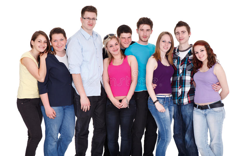 Grande grupo de amigos imagem de stock