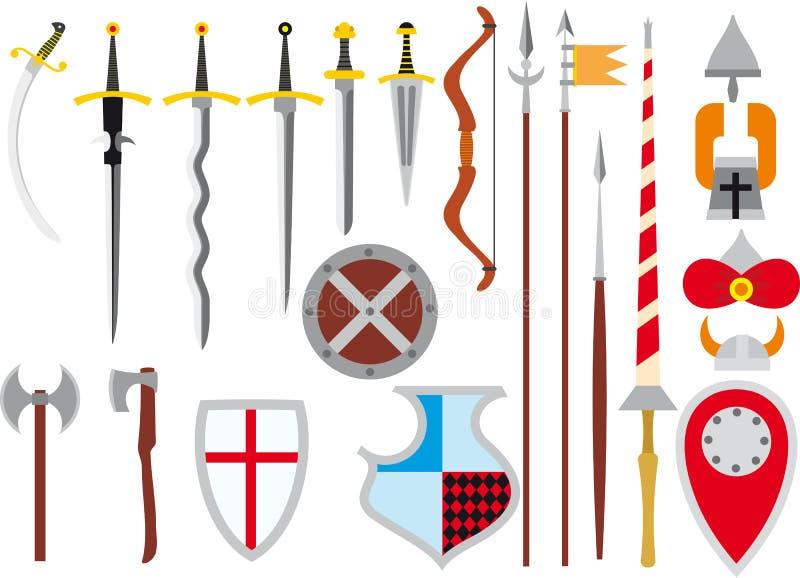 Grande grupo de armas medievais ilustração stock