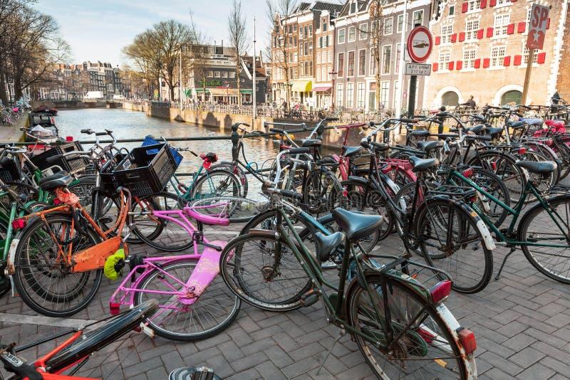 Grande grupo de bicicletas fotografia de stock royalty free