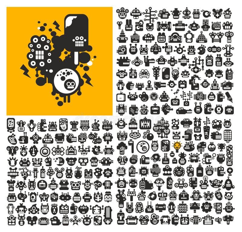 Grande grupo de caras do robô ilustração do vetor