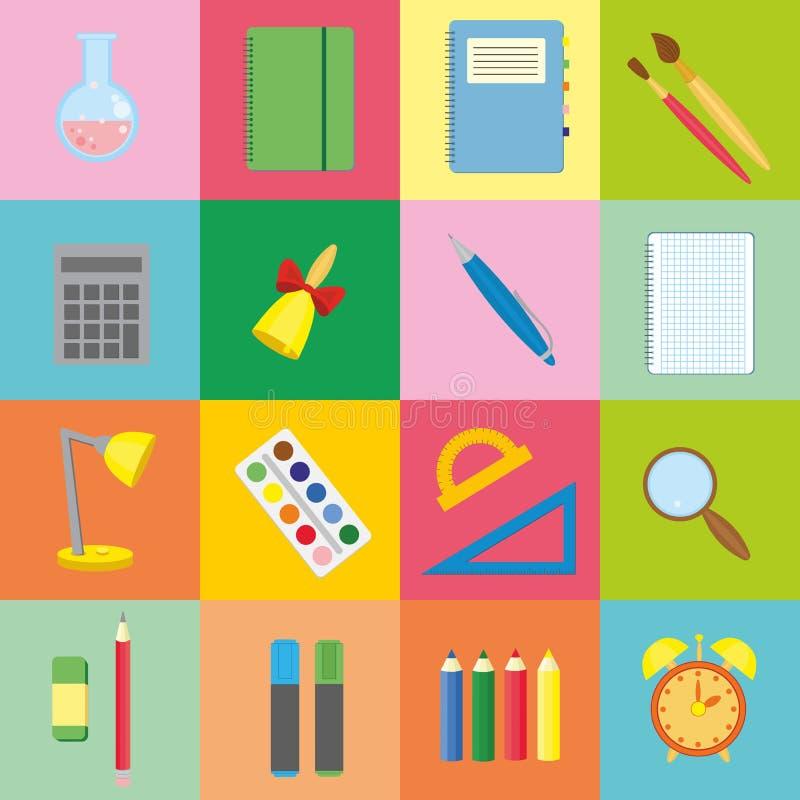 Grande grupo de estudantes dos ícones para colorir os quadrados Coleção do vetor de volta aos elementos da escola no estilo liso  ilustração stock
