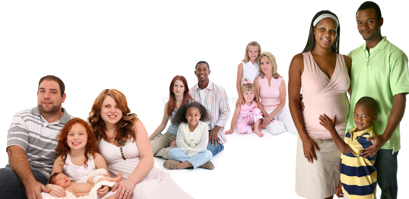 Grande grupo de famílias foto de stock