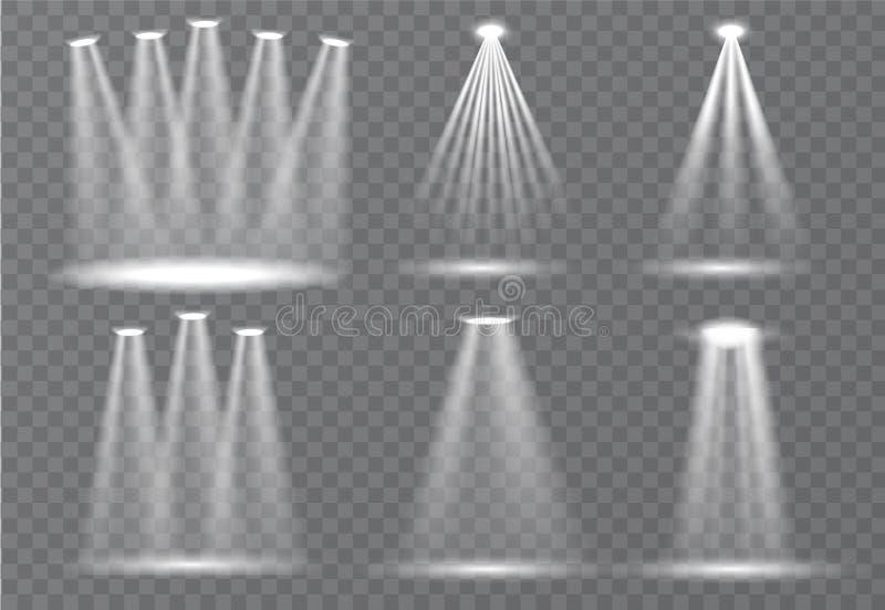 Grande grupo de iluminação da cena, efeitos transparentes Iluminação brilhante com coleção dos projetores ilustração do vetor