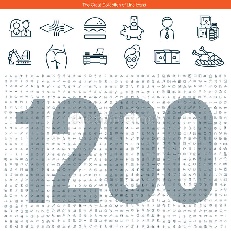 Grande grupo de linha ícones ilustração stock
