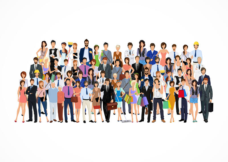 Grande grupo de pessoas ilustração stock