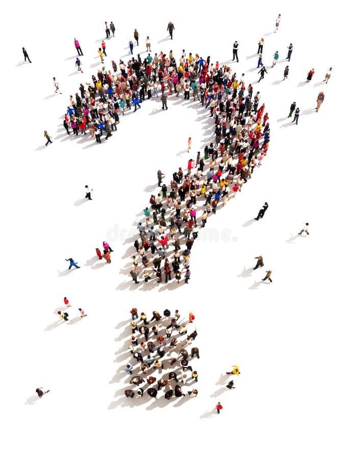 Grande grupo de pessoas com perguntas