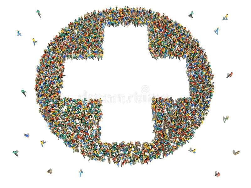 Grande grupo de pessoas na forma da mais o sinal ilustração stock