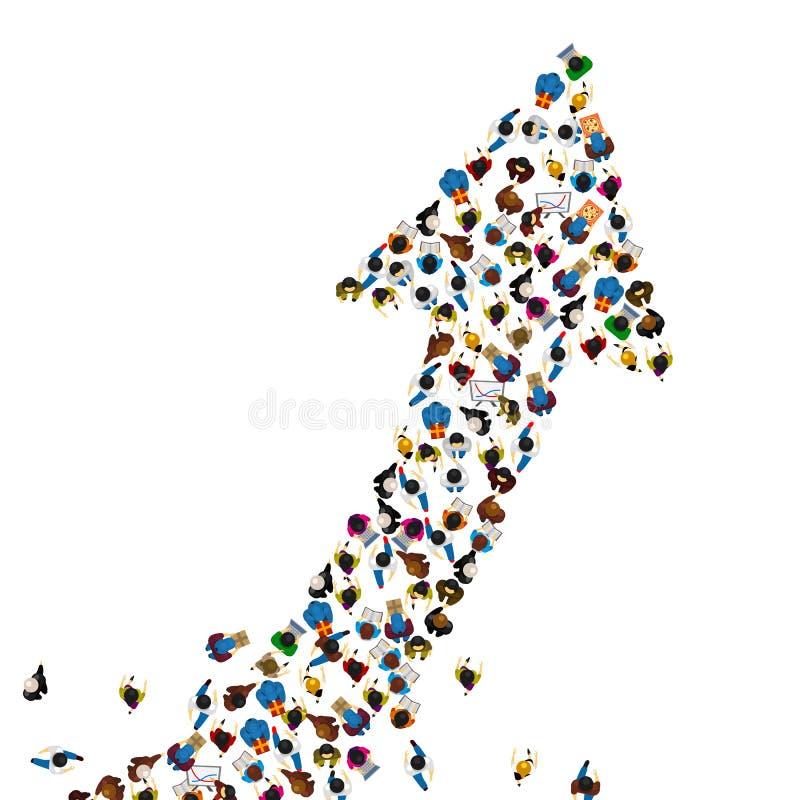 Grande grupo de pessoas na forma de uma seta de agregação, maneira ao conceito do negócio do sucesso, ilustração do vetor ilustração stock